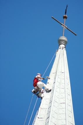Painting high on steeple